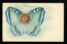 Flower Vintage postcard Fantasy Greetings Child Butterfly insect A & MB #104