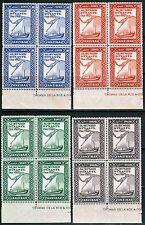 Zanzibar 1944 Sc#218-221 Blks of 4, Al Busaid Dynasty, MNH** , Complete Set cp1