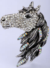 Big horse head stretch ring animal bling scarf jewelry gifts gold silver 3