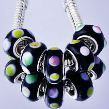 5Pcs GF Silver4-color Crystal MURANO GLASS charms lampwork european beads