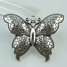 13974 2PCS Antique Silver Tone Alloy Large Butterfly Insect Pendant Charms