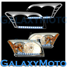 06-10 DODGE CALIBER Chrome HeadLight Head Light Trim Bezel+White LED Cover