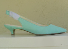 NEW ANNE KLEIN TURQUOISE LEATHER KITTEN HEEL PUMPS SIZE 8 M $79