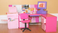 GLORIA DOLLHOUSE FURNITURE OFFICE W/ L-Shape Office Desk PLAYSET FOR BARBIE