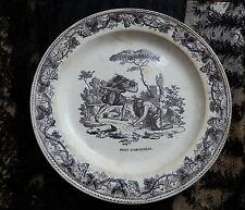 CREIL ET MONTEREAU 1825 LOUIS LEBEUF ASSIETTE EN GRISAILLE MORT D' ARCHIMEDE