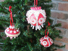 Vintage..Lot of 3-Red, Silver & White..Satin Beaded Jeweled Christmas Ornaments