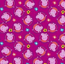"""Nick Jr. Peppa Pig Badges Fuchsia 100% cotton 44"""" wide fabric by the yard"""