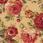 """HEAVY CANVAS COTTON UPHOLSTERY CURTAIN TOTE FABRIC VINTAGE FLORAL ROSE BEIGE 44"""""""