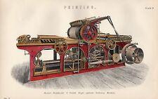 1880 HAND COLOURED PRINT ~ PRINTING MACHINE SINGLE CYLINDER PERFECTING ~ BUXTON