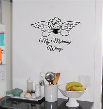 Coffee My Morning Wings Angel Kitchen Wall Sticker Wall Art Decor Vinyl Decal
