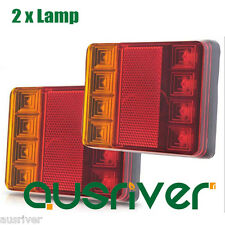 2pcs 12V Waterproof Truck Trailer Boat LED Lamp Kit Tail Light Stop Indicator