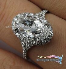 2.75CT ESTATE VINTAGE OVAL DIAMOND ENGAGEMENT WEDDING PLATINUM RING HALO SETTING