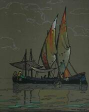 Vintage 1924 Hand Colored Woodblock of a Sailboat in Venice by Dana Bartlett