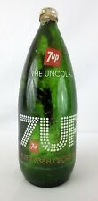 "7-Up Bottle Glass 1 Liter 33.8 Fl oz 10.5"" Tall w Lid Return for Deposit 1980s"