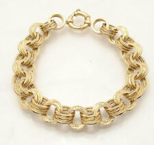 Textured Triple Circle Link Bracelet with Senora Clasp Real 14K Yellow Gold QVC