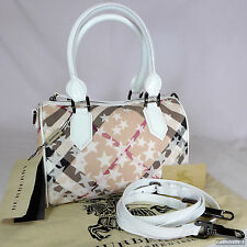 Burberry Stars Check Small Bowling Shoulder Tote Handbag Excellent Condition