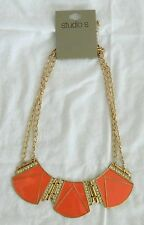 NEW Studio S Drape Bib Statement Necklace Chunky Enamel Gold Tone Rhinestone