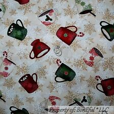 BonEful FABRIC FQ Cotton Quilt Brown Cream Xmas Tea Coffee Drink Cocoa Snowflake