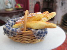 Dollhouse Miniatures ~ Oval Blue & White Fabric Lined Basket w/ Loaves Of Bread