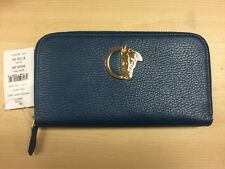 NEW! VERSACE  COLLECTION Oil Navy LEATHER ZIP AROUND WALLET Made In Italy