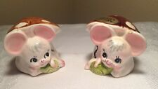 "The Cutiest Pair of Mouse & Mushroom Salt & Pepper Shakers Enesco ""Missy Mouse"""