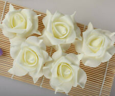 5pcs Ivory Rose Flower Wedding Handmade Foam Roses Petals Bouquet Bridal DIY