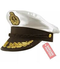 Fancy Dress White Adult Yacht Boat Captain Hat Navy Cap Sailor Costume Satin Hat