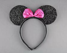 Black sparkle minnie mouse ears headband ear hair band costume mickey sparkly