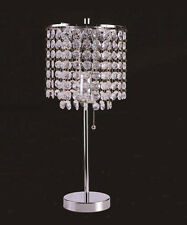 CHROME ROUND CRYSTAL LIKE HANGING BEADS 19 INCHES TABLE LAMP