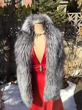 AUTHENTIC NATURAL SILVER FOX FUR SCARF BOA WRAP 62 Inches New item Made in USA