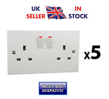 2 Gang Sockets x 5 13amp Twin Double White Switched Wall Sockets