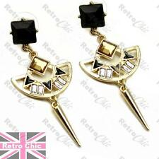 EGYPTIAN REVIVAL vintage style RHINESTONE crystal FASHION EARRINGS BLACK/GOLD