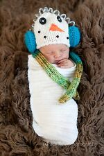 NB Snowman set: hat with ear muffs and scarf