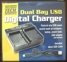 Dual Bay USB Charger for Panasonic VW-VBG070, VW-VBG130, VW-VBG130K, VW-VBG260,