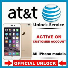 APPLE IPHONE 7+ 7 6S+ 6S 6+ 6 5S 5C 5 4S 4 AT&T ACTIVE IMEI UNLOCK SERVICE