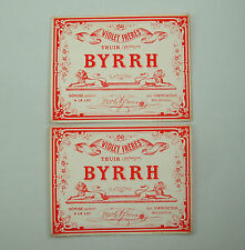 LOT 2 ETIQUETTES ANCIENNES BYRRH APERITIF VIOLET FRERES ALCOOL OLD LABELS