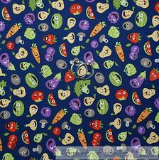 BonEful Fabric FQ Cotton Quilt VTG Blue Green Vegetable Red Tomato Cartoon Color