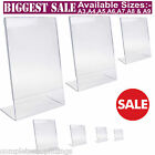 Acrylic Poster Menu Holder Perspex Leaflet Display Stands A3 A4 A5 A6 A7 A8 & A9