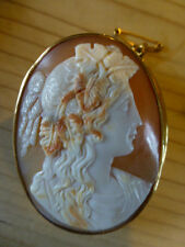 ANTIQUE CARVED CAMEO BROOCH set into HEAVY 9ct GOLD BROOCH SETTING
