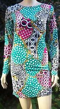 PUNKY FISH Green Multi Colour Chain Print Long Sleeve Bodycon Dress Size M