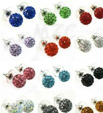 40 pair/lot 10mm mixed free shipping clay beads stud crystal shamballa earring