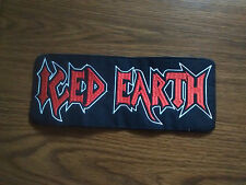 ICED EARTH,SEW ON RED WITH WHITE EDGE EMBROIDERED LARGE BACK PATCH
