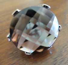 SMOKEY QUARTZ GEMSTONE  SILVER TONE Large Bold FASHIONABLE Ring Sz 5