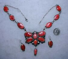 NAVAJO MARCELLA JAMES DRAGONFLY NECKLACE, EARRINGS, Spiny Oyster Shell, sterling