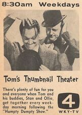 1957 WKY TV AD~TOMS THUMBNAIL THEATER~LAUREL & HARDY~OKLAHOMA~TOM PAXTON ?