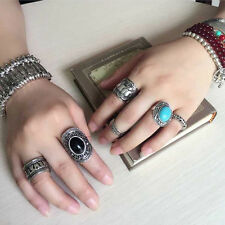 4X Women Lucky Boho Beach Bohemian Retro Carved Silver Elephant Totem Ring Set