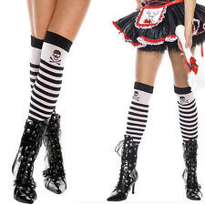 Opaque Black & White Striped Thigh Highs Knee Socks Halloween Pirate Costume OS