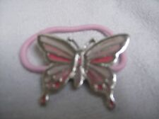 Hair band ponytail holder butterfly pink and silver