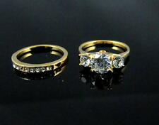 2PCS 18K GOLD FILLED PRINCESS CUT ROUND WEDDING ENGAGEMENT SOLID RING SET SIZE 7