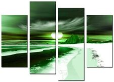 4 Panel Total 98x78cm Large CANVAS ABSTRACT PICTURE  ART PRINTS  BLADE GREEN